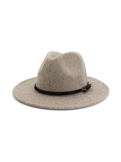 buy Buckle Belt Design Flat-brim Fedoras - WARM WHITE  Mobile