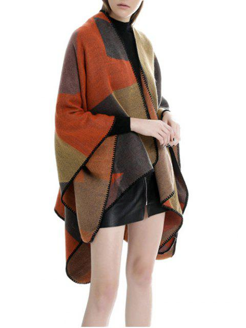 new Patchwork Open Front Poncho Cape - FALL LEAF BROWN REGULAR Mobile