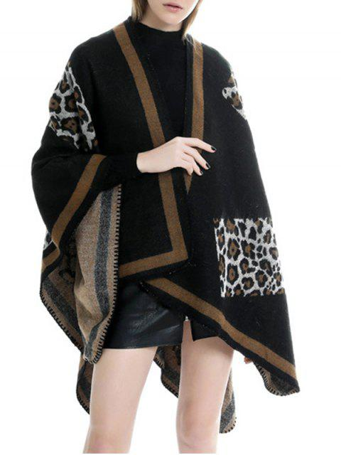 affordable Leopard Open Front Poncho Cape - BLACK REGULAR Mobile