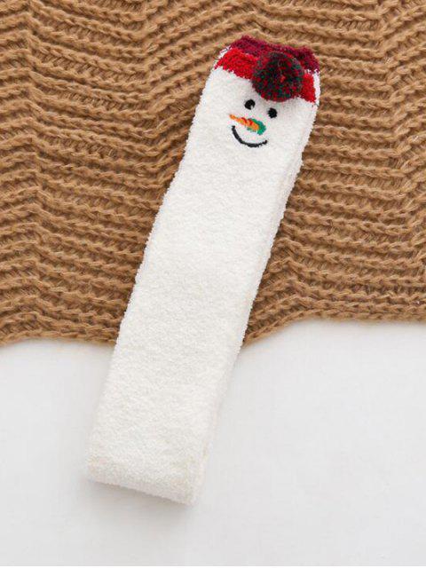 Chaussettes de Noël Hautes en Daim - Blanc  Mobile