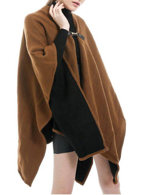 best Solid Buckle Faux Cashmere Shawl - BROWN BEAR  Mobile