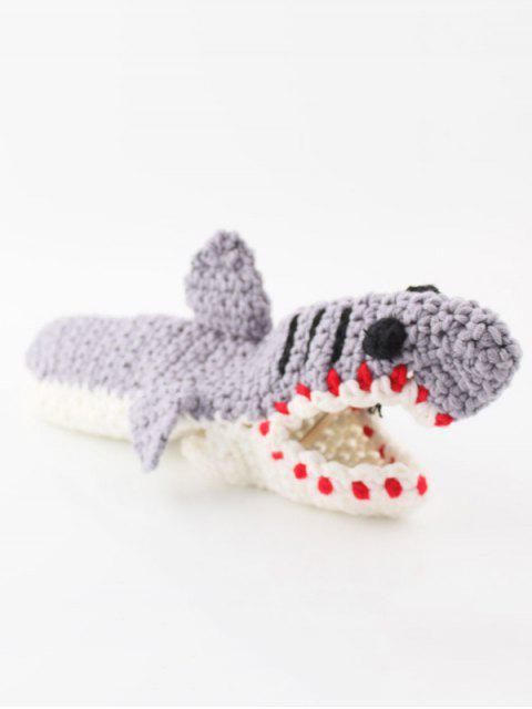 chic Shark Crochet Home Floor Socks - LIGHT SLATE GRAY  Mobile