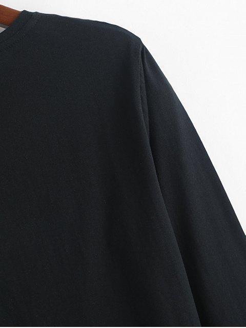 信圖形長袖圓領T卹 - 黑色 L Mobile