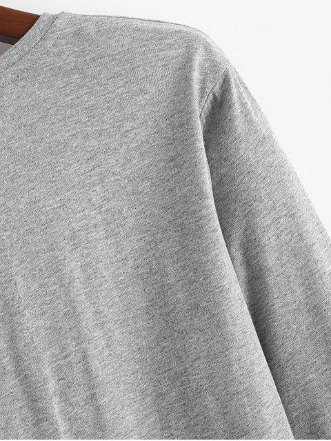 Carta a largo Gráfico de manga Ronda de cuello camiseta - Gris M Mobile