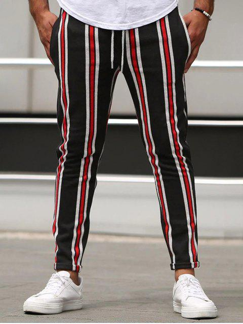 chic Vertical Striped Lounge Pencil Pants - RED L Mobile