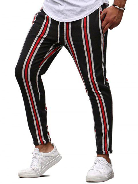 fancy Vertical Striped Lounge Pencil Pants - RED M Mobile
