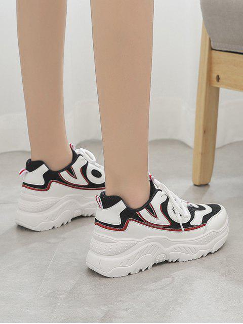womens High Platform Breathable Outdoor Sneakers - BLACK EU 43 Mobile