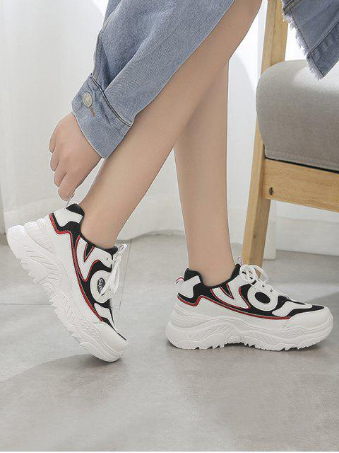chic High Platform Breathable Outdoor Sneakers - BLACK EU 38 Mobile