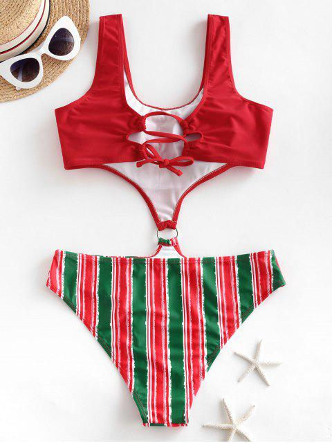 shops ZAFUL Striped O Ring Christmas One-piece Swimsuit - RED L Mobile