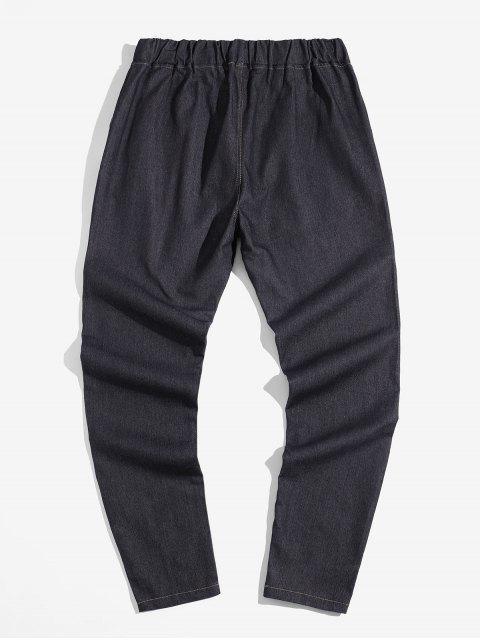 unique Solid Color Elastic Drawstring Jean Pencil Pants - NATURAL BLACK 3XL Mobile