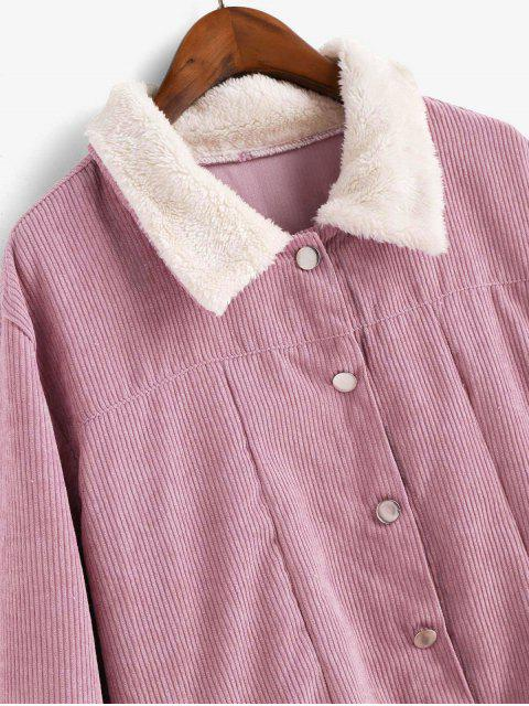 Veste à Simple Boutonnage en Velours avec Poche - Rose  M Mobile