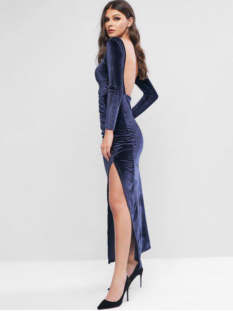 womens Velvet Backless Slit Draped Maxi Dress - DEEP BLUE M Mobile