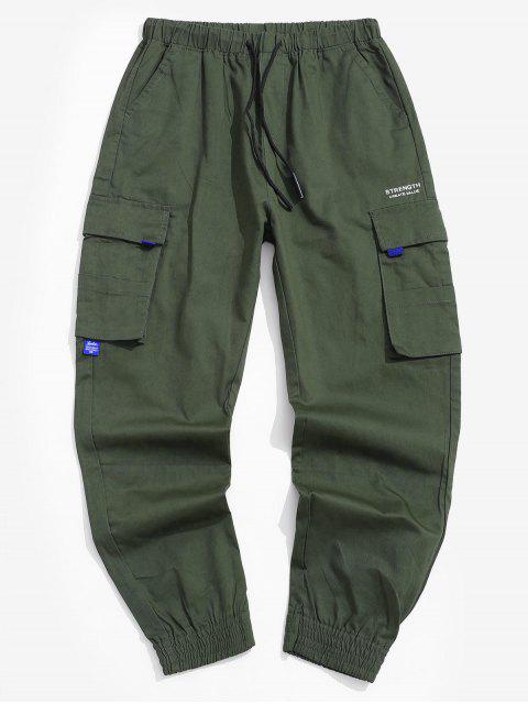 women Pocket Decorated Letter Printed Cargo Pants - ARMY GREEN XL Mobile