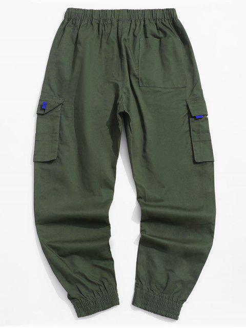 lady Pocket Decorated Letter Printed Cargo Pants - ARMY GREEN S Mobile
