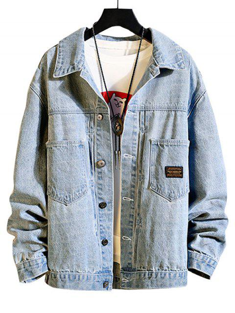 ladies Chest Pocket Stitching Applique Jean Jacket - LIGHT BLUE M Mobile
