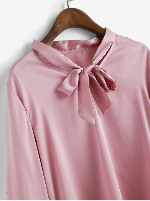 fashion ZAFUL Solid Bow Tie Layered Flare Sleeve Blouse - PINK M Mobile