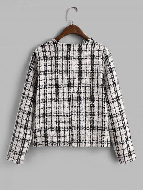 sale ZAFUL Open Placket Plaid Frayed Tweed Jacket - MULTI-A S Mobile