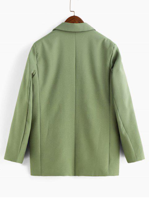fancy Open Front Padded Shoulder Pocket Blazer - GREEN S Mobile