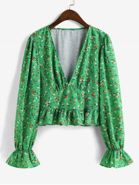 sale ZAFUL Peplum Hem Poet Sleeve Ditsy Floral Blouse - GREEN L Mobile