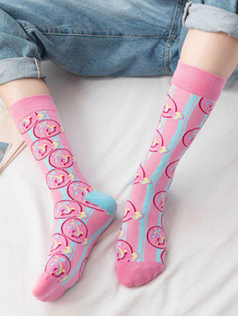 latest Hip-hop Street Crew Length Socks - PINK  Mobile