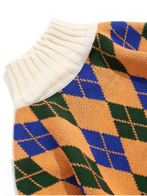 Pullover mit Rhombus Muster und Rollkragen - Gelb XL Mobile