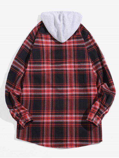 Camisa a cuadros Glen bolsillo con capucha de manga larga - Rojo S Mobile
