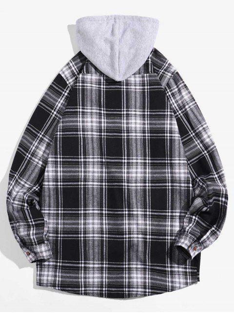 chic Glen Plaid Pocket Hooded Long Sleeve Shirt - WHITE L Mobile
