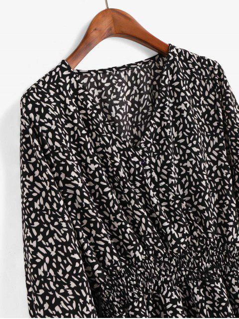 Robe Superposée Imprimée à Manches Longues - Noir XL Mobile