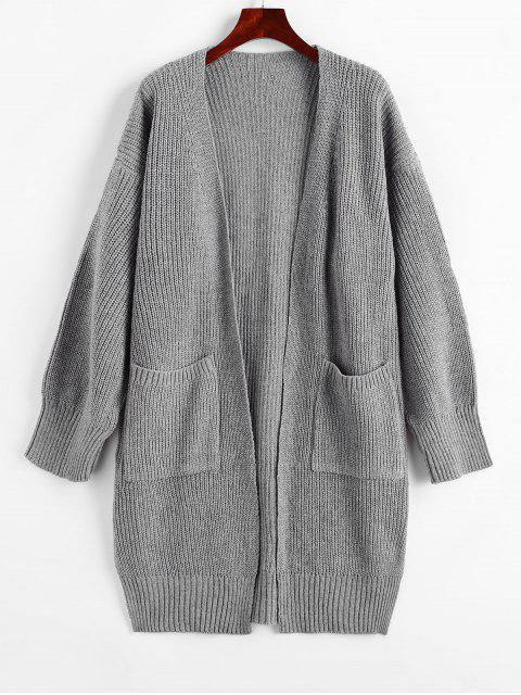 buy Longline Open Front Pockets Slit Cardigan - GRAY CLOUD ONE SIZE Mobile