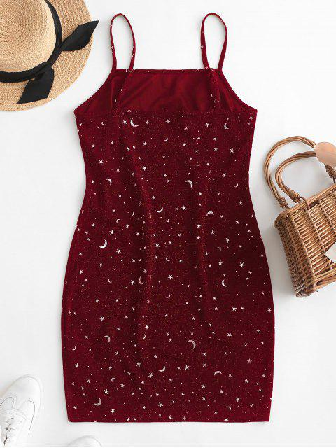 new ZAFUL Moon and Star Metallic Thread Cami Slit Dress - RED WINE S Mobile
