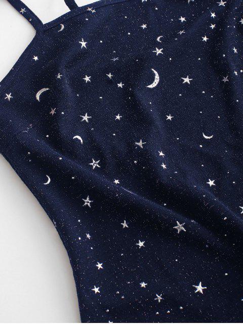 ZAFUL Robe Fendue Métallisée Etoile et Lune à Bretelle - Bleu Lapis M Mobile
