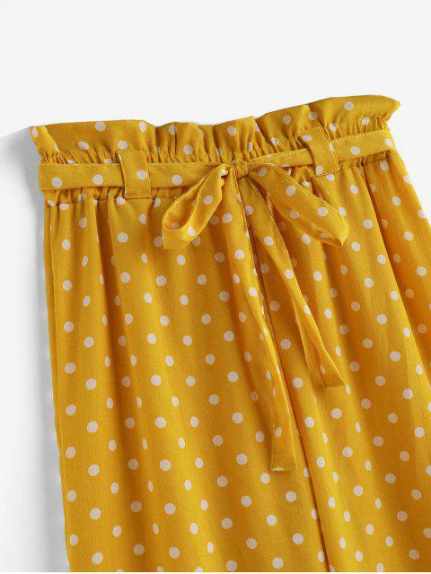 Pantalon de Plage Ceinturé à Jambe Large à Pois - Safran L Mobile
