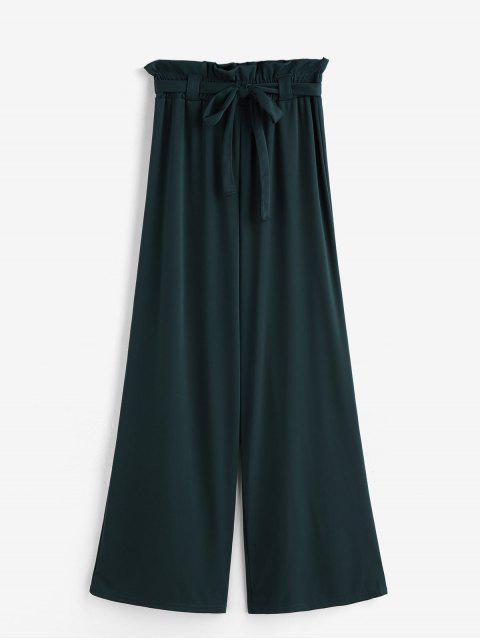 best Solid Belted Wide Leg Paperbag Pants - DEEP GREEN M Mobile