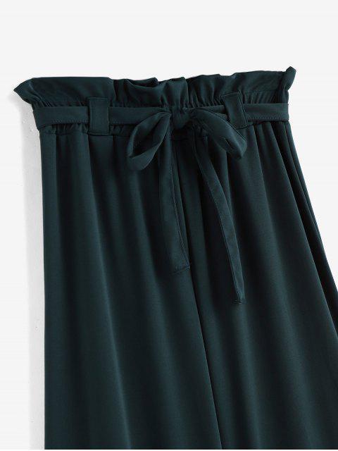 С поясом Папербаг Одноцветные Брюки-клеш - Темно-зеленый  S Mobile