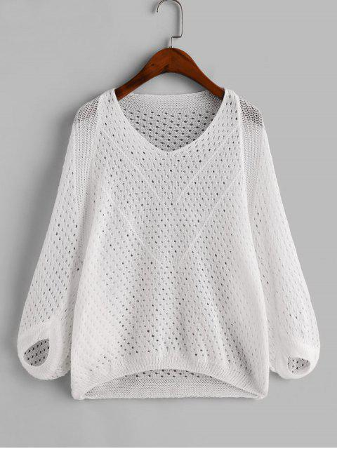 women's Hollow Out Dolman Sleeves Solid Cover Up - WHITE ONE SIZE Mobile