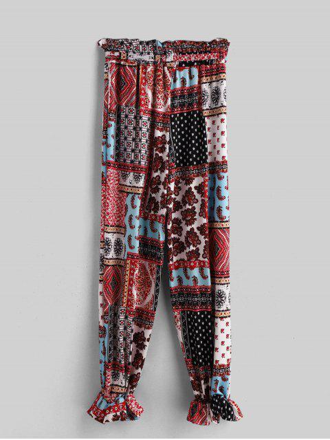 Pantalones de talle alto con cinturón Impreso de Bohemia - Multicolor-A M Mobile
