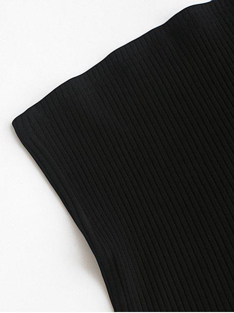 Ensemble de Haut en Couleur Unie Sans Bretelle et de Pantalon à Carreaux - Rouge XL Mobile