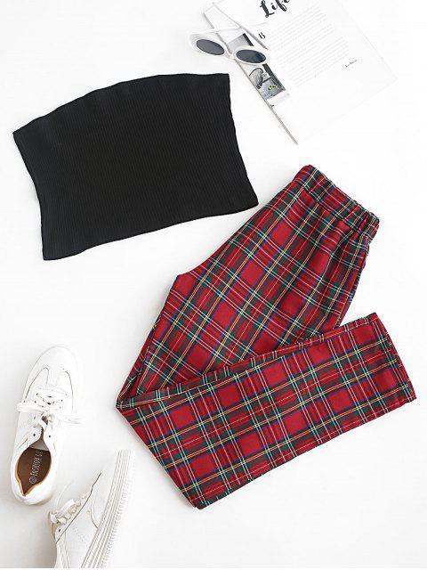 Ensemble de Haut en Couleur Unie Sans Bretelle et de Pantalon à Carreaux - Rouge M Mobile