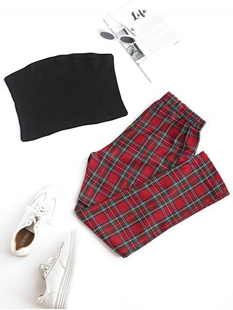 unique Solid Strapless Top and Plaid Pants Set - RED S Mobile