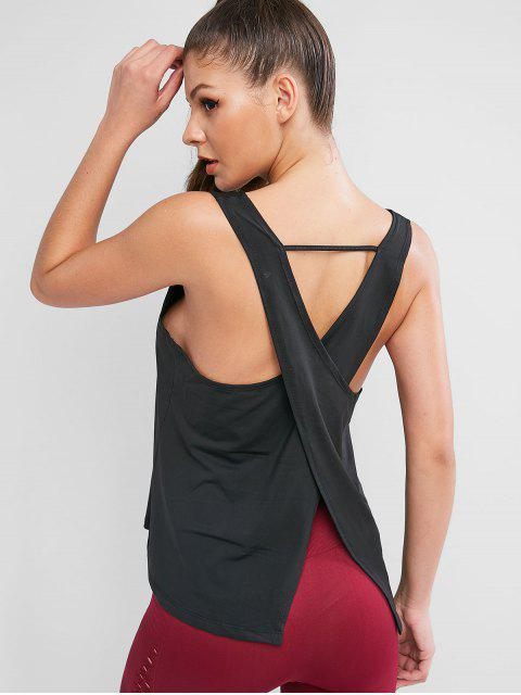 Muscular Criss Cross Volver Deportes Tank Top - Negro M Mobile