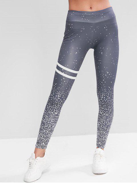 Mitteler Taille Sports Leggings mit Reflektierenden Streifen - Grau L Mobile