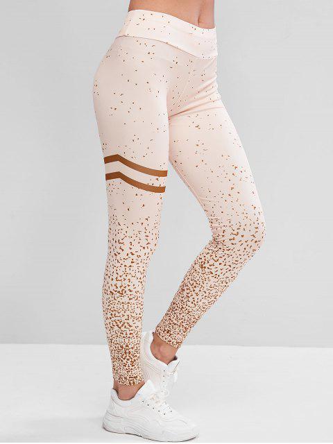 Mitteler Taille Sports Leggings mit Reflektierenden Streifen - Aprikose XL Mobile