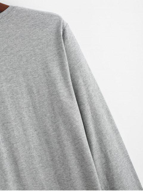 shops Letter Graphic Print Casual Long Sleeve T-shirt - GRAY XL Mobile