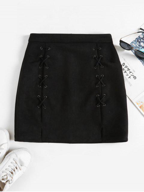 Ate para arriba Bolsillos gamuza sintética mini falda - Negro S Mobile