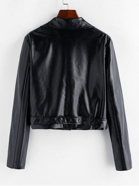 hot ZAFUL PU Inclined Zipper Belted Jacket - BLACK S Mobile