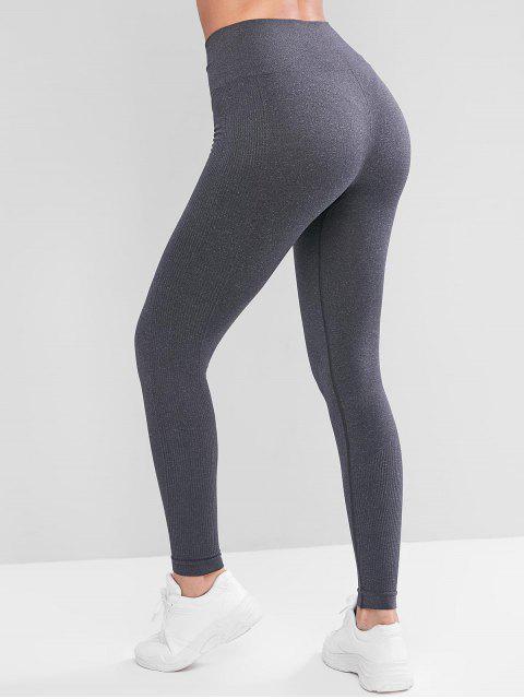 高腰羅紋小組體育護腿 - 灰色 M Mobile