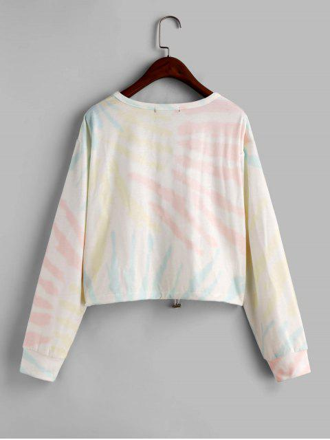 ZAFUL Federn Drawstring Krawattenfärbender Sweatshirt - Multi-A XL Mobile