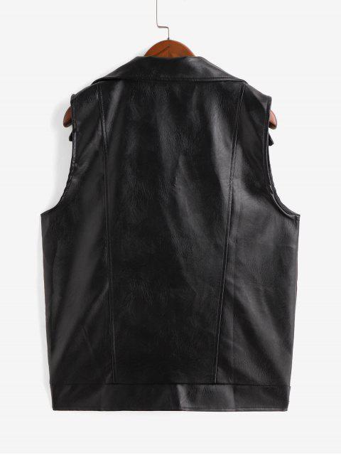 仿皮拉鍊翻領背心口袋 - 黑色 M Mobile