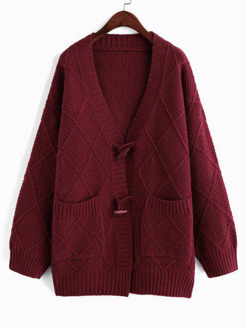 聖誕節喇叭按鈕的下拉肩部口袋外套開衫 - 紅酒 One Size Mobile