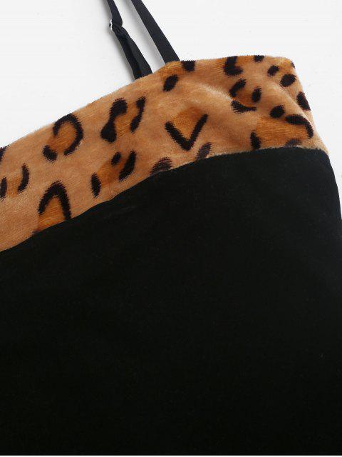 卡米絨豹紋蓬鬆Bodycon連衣裙 - 黑色 M Mobile